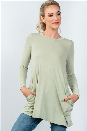 Sage Long Sleeve Back Keyhole Tunic Top