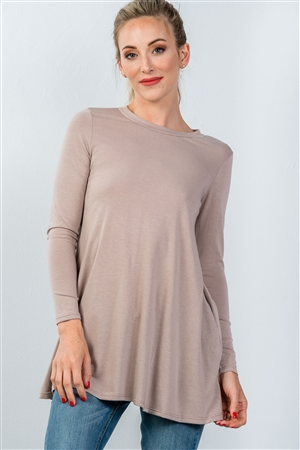 Taupe Long Sleeve Back Keyhole Tunic Top