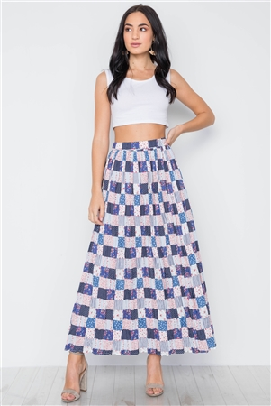 Boho Blue Flower Plaid Mix Print Pleated Maxi Skirt