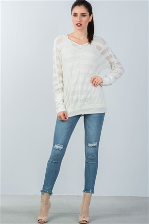 White Mesh Knit Sweater And Tank Duo