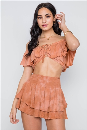Tan Frill Mini Skort With Flounce Crop Top Two Piece Set
