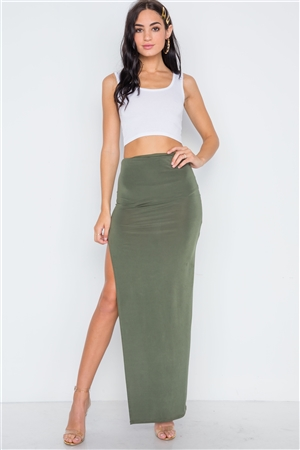 Olive Side Slit Bodycon Maxi Skirt