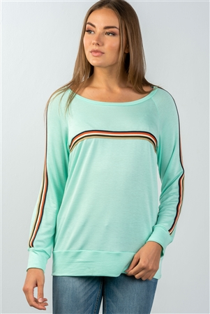 Mint Colored Stripes Long Sleeves Knit Top