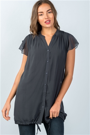 Charcoal Drawstring Hem Tunic Top
