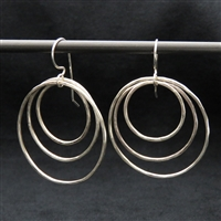 Triple Hoop Sterling Silver Earrings