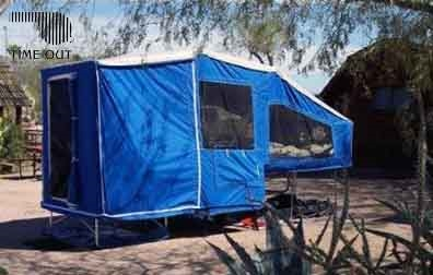 Time out trailers Deluxe camper, set up.