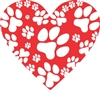 Heart with Dog Paws Vinyl Decal Sticker