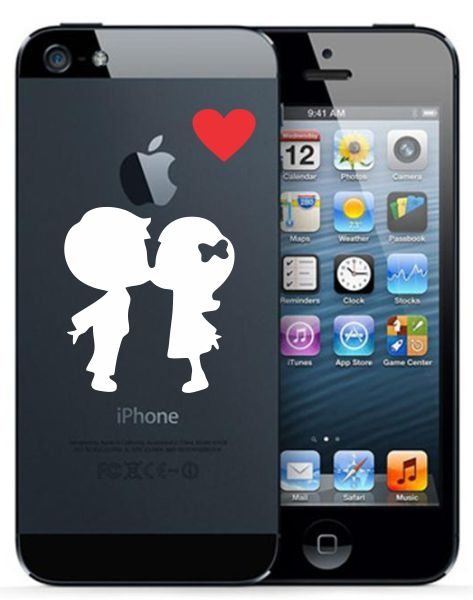 Boy kissing girl cute vinyl decal sticker