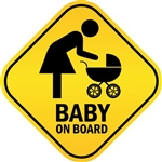 Baby On Board with Mom and Stroller Vinyl Decal Sticker