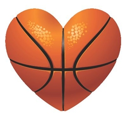 Basketball Heart Vinyl Decal Sticker