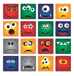 16 Monster Face Squares Vinyl Wall Graphic Decal Peel and Stick Sticker