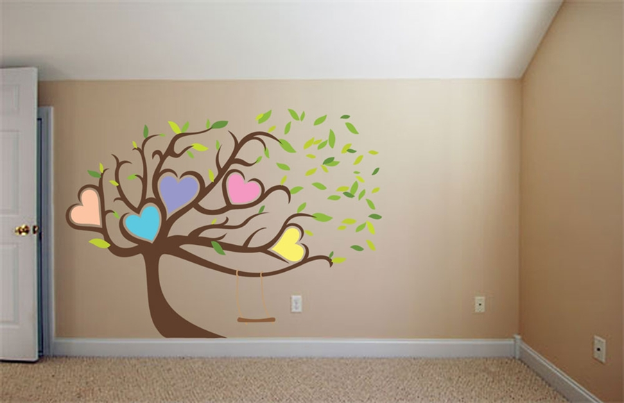 Tall Tree With Hearts Decal Wall Graphics Wall Art Wall Decal