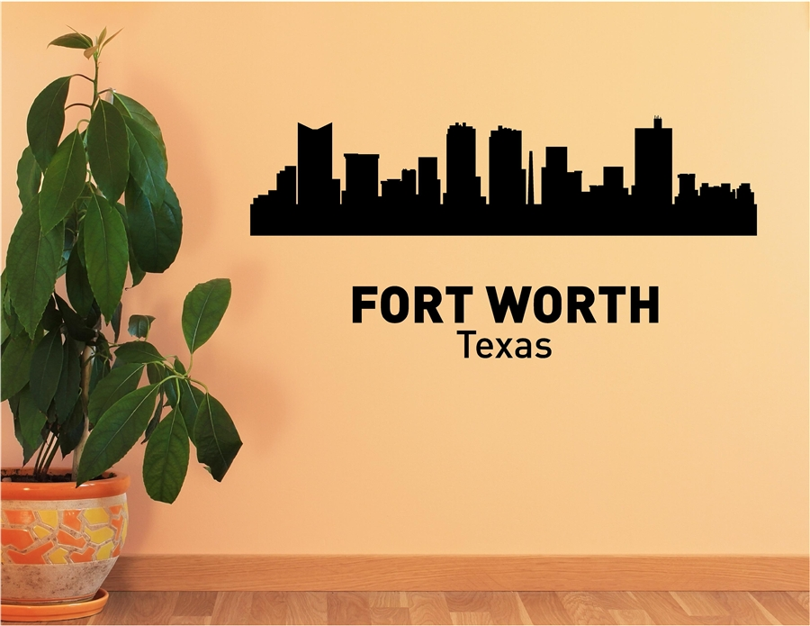 FORT WORTH Texas City Skyline Vinyl Wall Art Decal Sticker