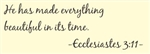 He has made everything beautiful in its time.  Ecclesiastes 3:11 Vinyl Wall Art Decal Sticker