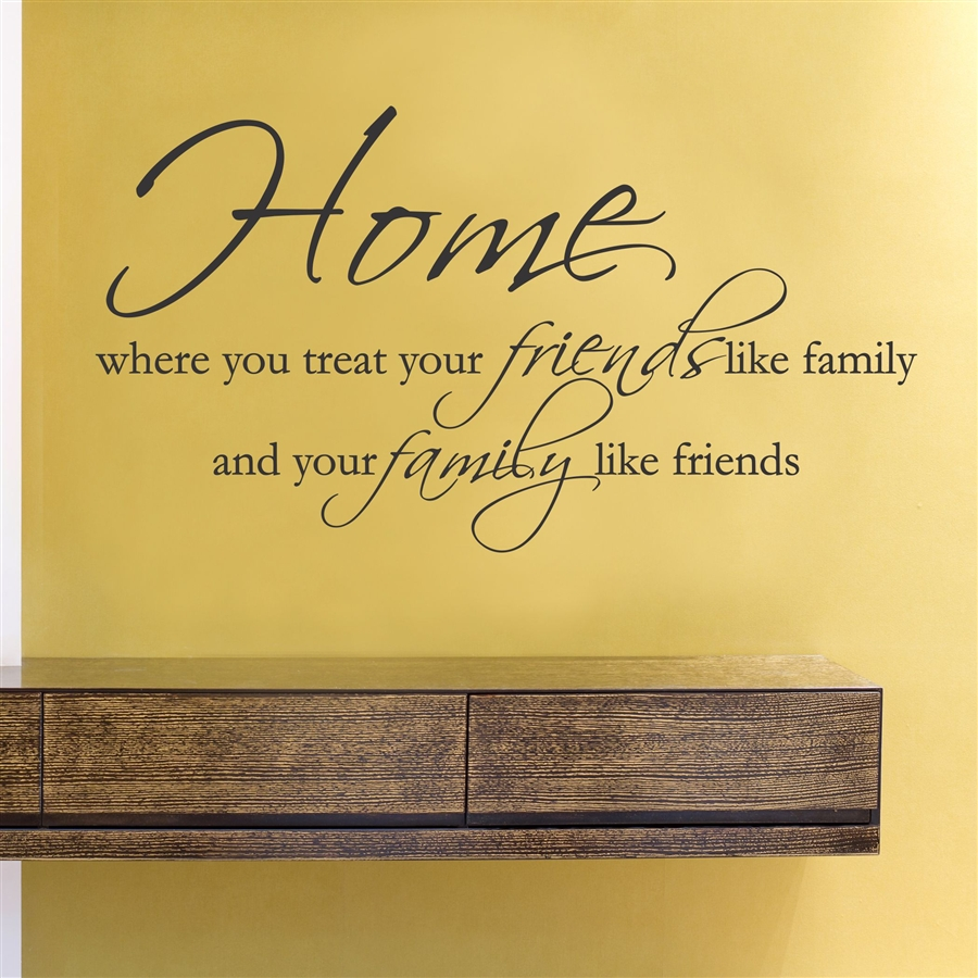 Home where you treat your friends like family and your family like ...