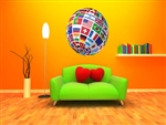 World Flags Globe Vinyl Wall Graphic Decal Peel and Stick Sticker