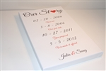 Our Story custom wedding dates GALLERY WRAPPED CANVAS