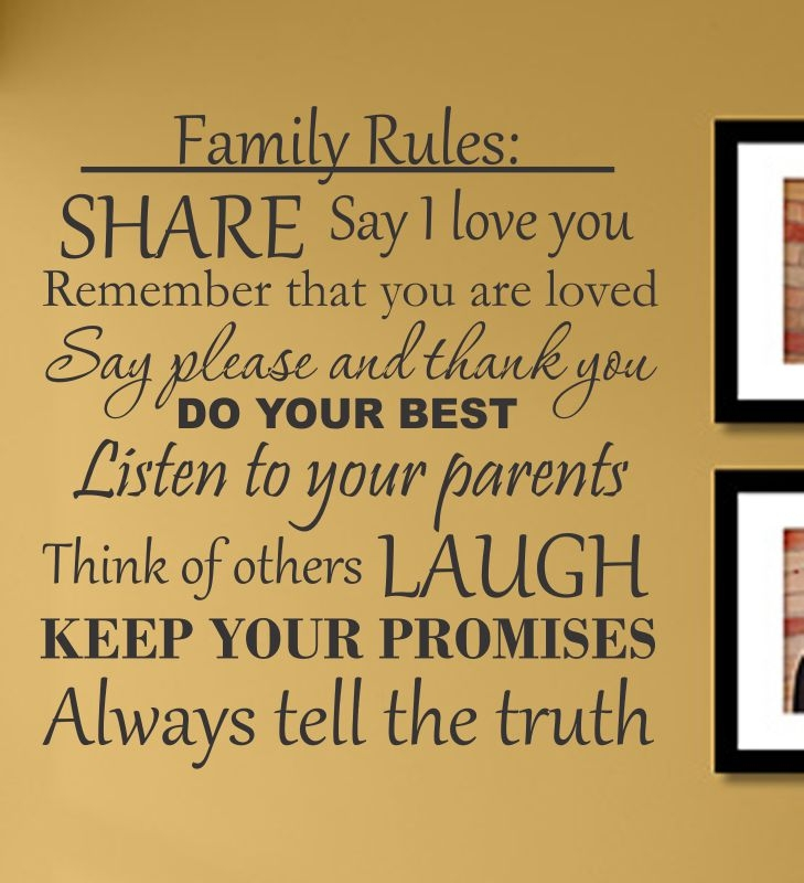 family rules say i love you wall art, wall art, wall graphics, wall ...