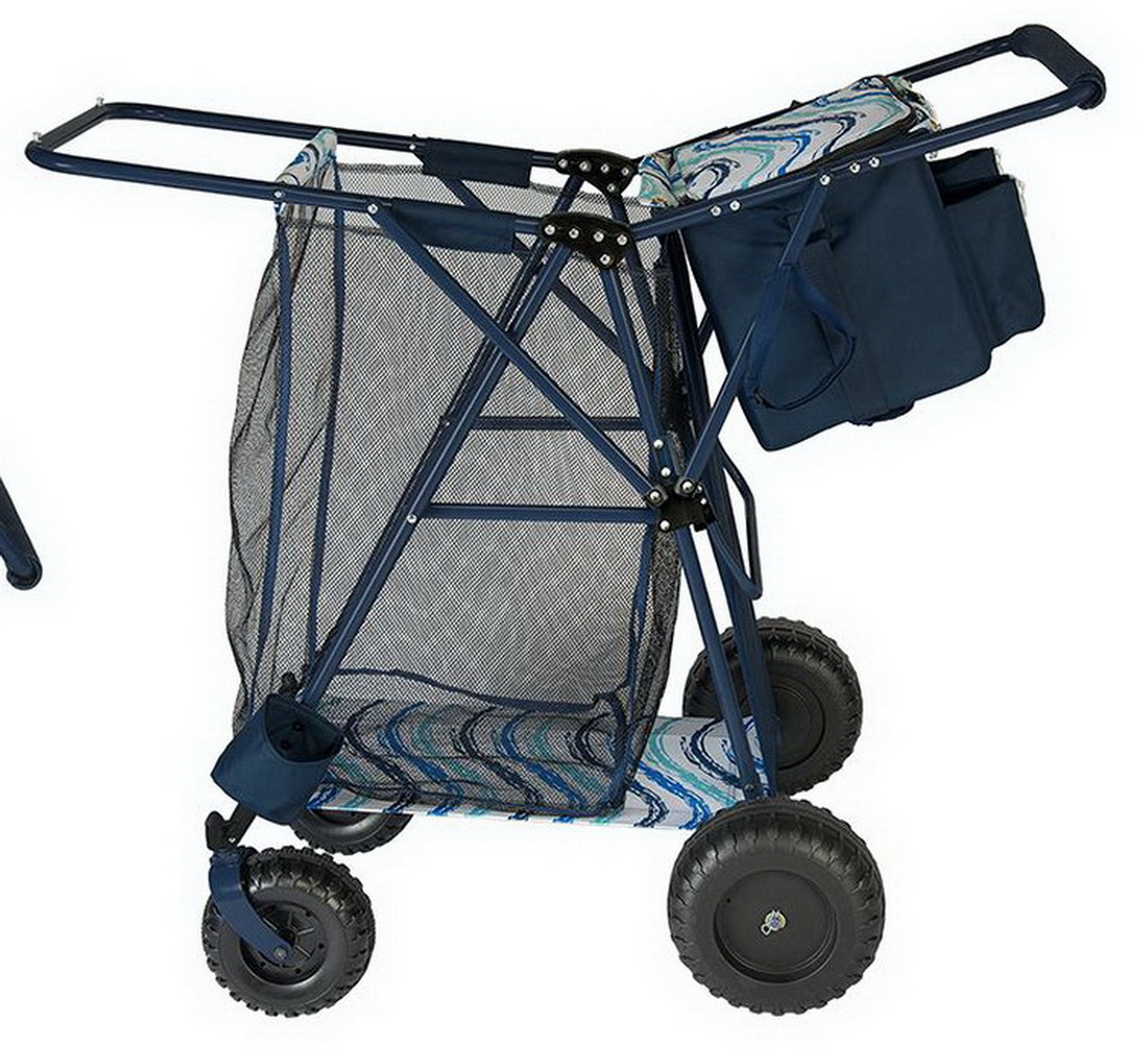 Big folding beach cart portable cooler shopping gear for Folding fishing cart