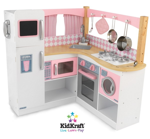 36 pink white wood pretend play kitchen set with for Kitchen set pink