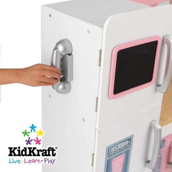 "Pink Play Kitchen Set 36"" pink & white wood pretend play kitchen set with accessories"