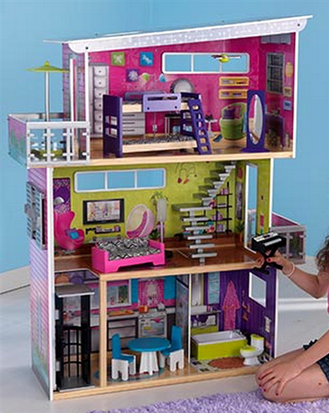 3 Story Wood Dollhouse My Modern Mansion Doll House 13 Furniture