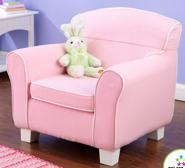 High Quality New Kids Pink Sofa Chair KidKraft Childrens Furniture Girls Bedroom White  Piping