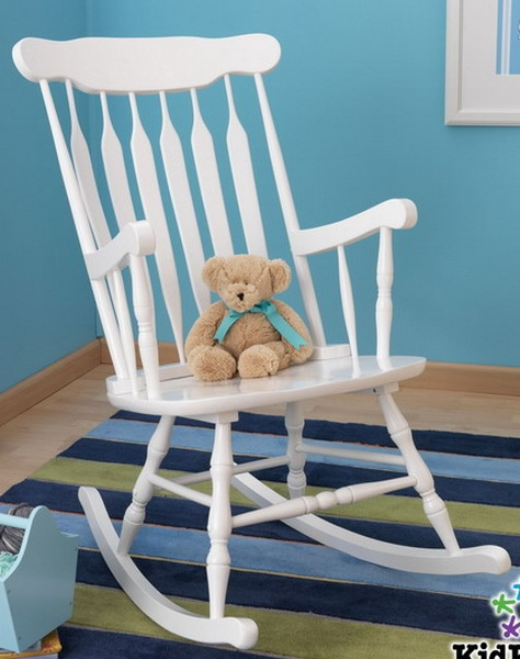 New White Wooden Nursery Rocking Chair Indoor Rocker
