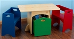 Toy Storage Bin Box Table and Two Benches Furniture Set