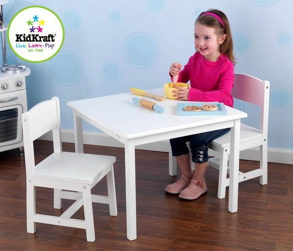 New Kids Table U0026 2 Chairs White Wood Wooden Childrenu0027s Furniture Set  KidKraft