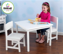 Kids Table & 2 Chairs White Wood Wooden Children's Furniture Set KidKraft