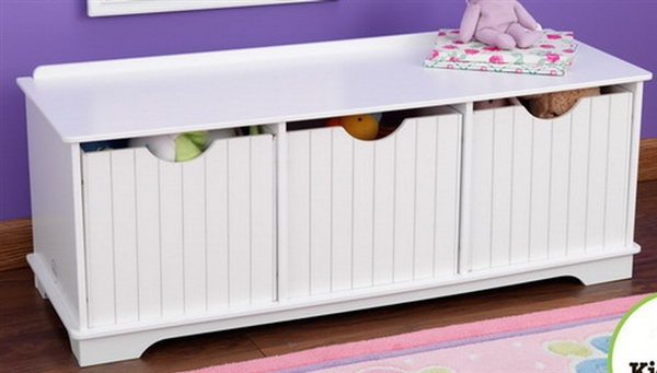 new wooden 3 bin storage bench toy kids room bedroom furniture nantucket - Kids Room Storage Bins