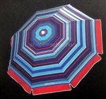 Nautica 7' Foot Red Striped 2 Way Tilt Sun Beach Umbrella UPF 50+ Carry Bag