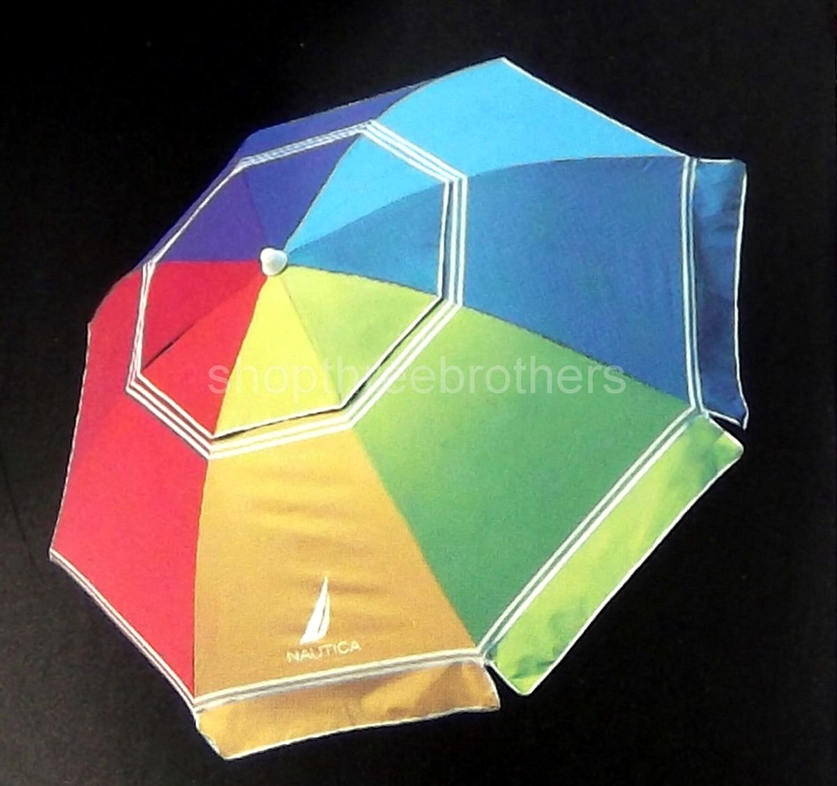 7' Foot Multi Color 2 Way Tilt Sun Beach Umbrella UPF 50  Carry Bag