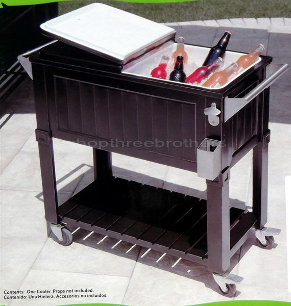 New Black 80 Quart Party Cooler Rolling Patio Ice Chest 2 Sides Outdoor  Indoor - New Black 80 Quart Party Cooler Rolling Patio Ice Chest 2 Sides
