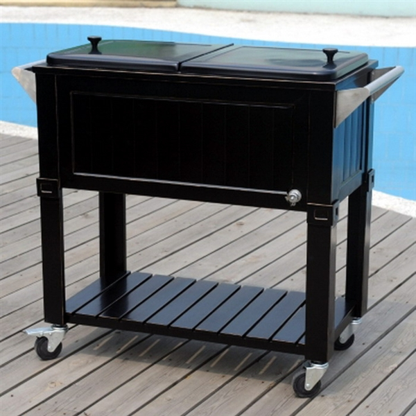 Delightful New Black 80 Quart Party Cooler Rolling Patio Ice Chest 2 Sides Outdoor  Indoor
