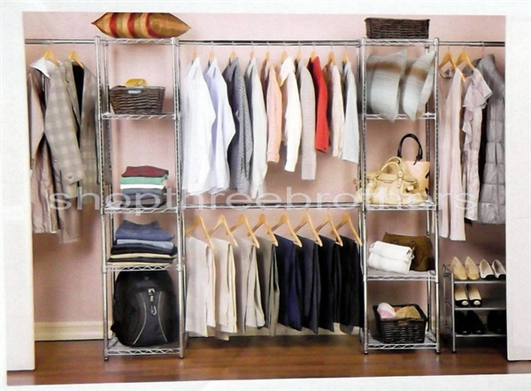 Perfect New CHROME Metal Large Adjustable Size CLOSET ORGANIZER 10 Shelf 4 Hanging  Rods