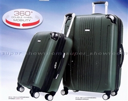 "Ricardo 2 Piece Luggage Set 20"" & 27"" Rolling Hard side Suitcases Green."
