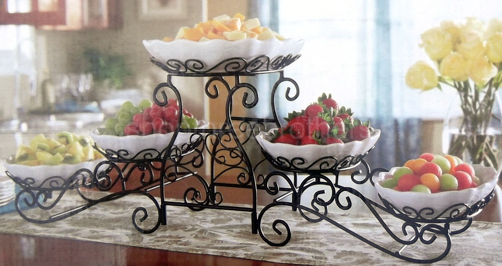 3 Tier Buffet Server 5 Stoneware Serving Dishes Wrought ...