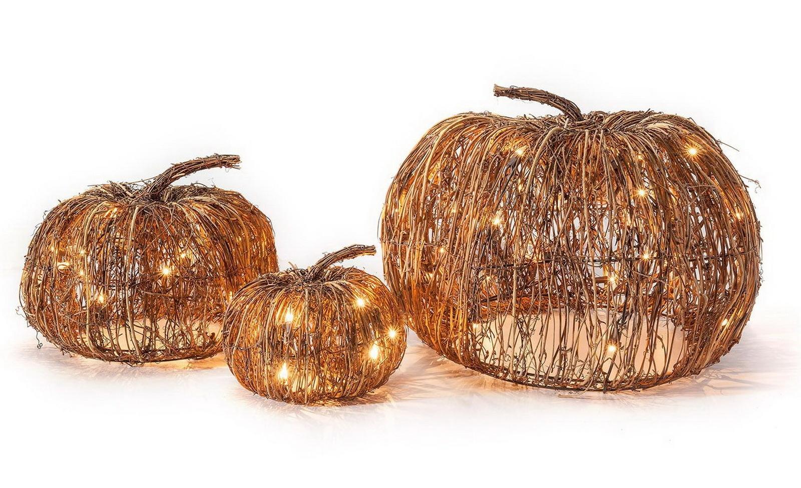 Set of 3 Indoor and Outdoor Decorative Lighted Pumpkins Halloween ...