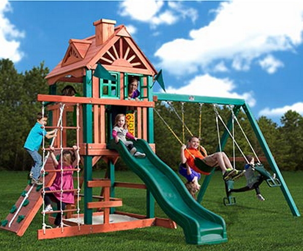 New Gorilla Wood Playground Set With Swings Amp Slide Rock Wall