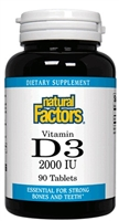 Vitamin D3 2,000 IU - 90 tablets - Natural Factors