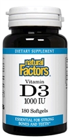 Vitamin D3 1,000 IU - 180 softgels - Natural Factors