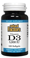 Vitamin D3 5,000 IU - 120 softgels - Natural Factors