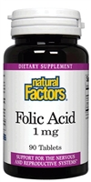 Folic Acid 1mg - 90 Tabs	- Natural Factors