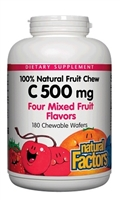 Vitamin C 500 mg 100% Natural Fruit Chew, Mixed Fruit - 180 Chewable Wafers - Natural Factors