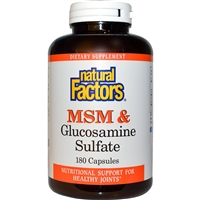 MSM & Glucosamine 500mg/375mg - 180 Caps - Natural Factors