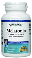 Stress-Relax Melatonin 5mg - Chewable 90 Tabs - Natural Factors