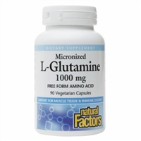 Micronized L-Glutamine 1000mg - 90 Veg Caps - Natural Factors