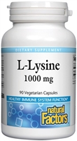 L-Lysine 1000mg -  90 V Caps - Natural Factors